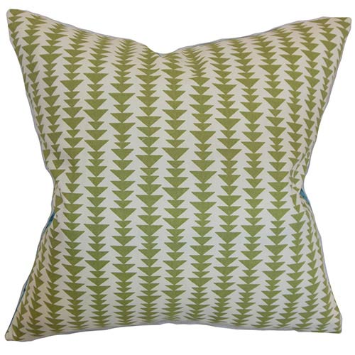 The Pillow Collection Jiri Green 18 x 18 Geometric Throw Pillow