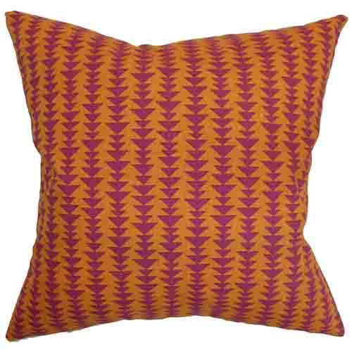 The Pillow Collection Jiri Orange 18 x 18 Geometric Throw Pillow