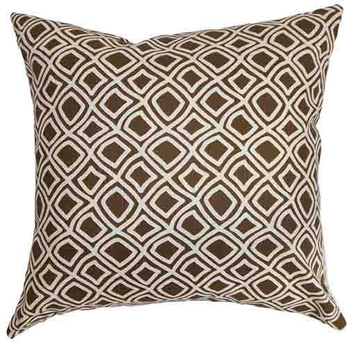 The Pillow Collection Cacia Brown 18 x 18 Geometric Throw Pillow