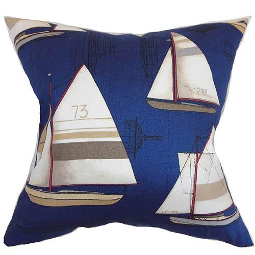 The Pillow Collection Hemavan Blue 18 x 18 Nautical Throw Pillow