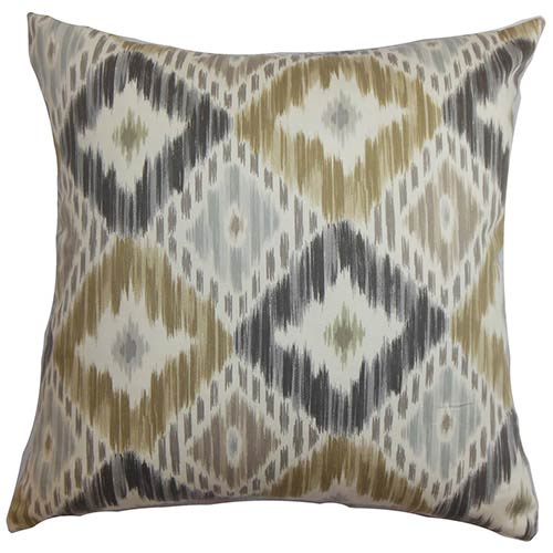 The Pillow Collection Orana Gray 18 x 18 Patterned Throw Pillow