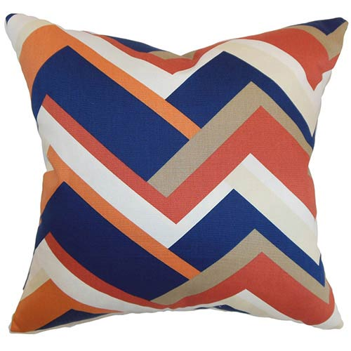 The Pillow Collection Hoonah Orange 18 x 18 Geometric Throw Pillow
