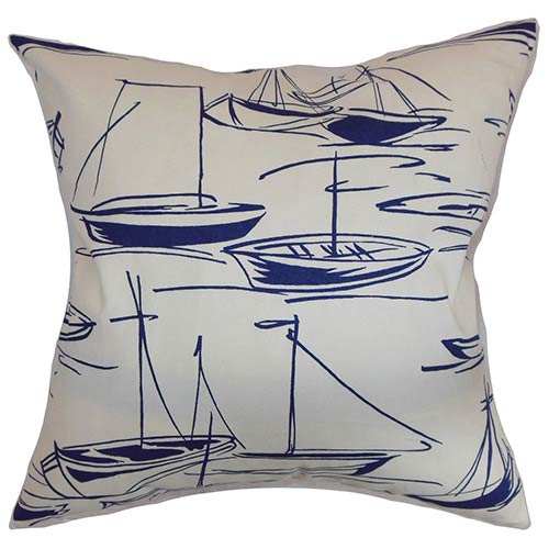 The Pillow Collection Gamboola Blue 18 x 18 Nautical Throw Pillow