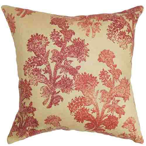 The Pillow Collection Efterpi Blue 18 x 18 Floral Throw Pillow