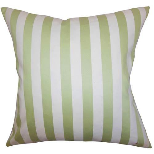 The Pillow Collection Baez Green 18 x 18 Stripes Throw Pillow