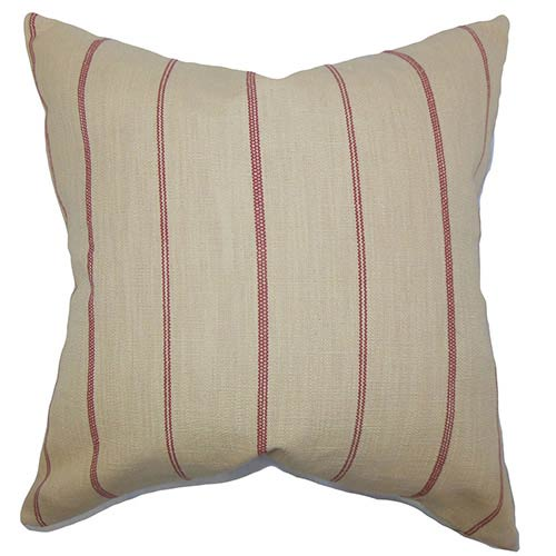 The Pillow Collection Fairfax Red 18 x 18 Stripes Throw Pillow