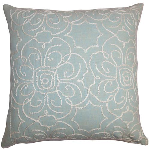 The Pillow Collection Pam Aqua 18 x 18 Floral Throw Pillow