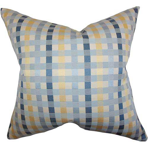 Carbry Blue 18 x 18 Plaid Throw Pillow