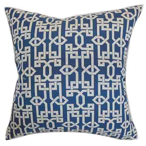 The Pillow Collection Cananea Blue 18 x 18 Geometric Throw Pillow