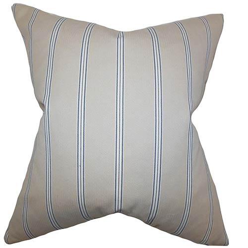 The Pillow Collection Drusilla Natural Blue 18 x 18 Stripes Throw Pillow