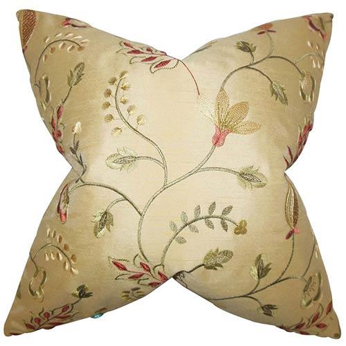 The Pillow Collection Denisha Gold 18 x 18 Floral Throw Pillow