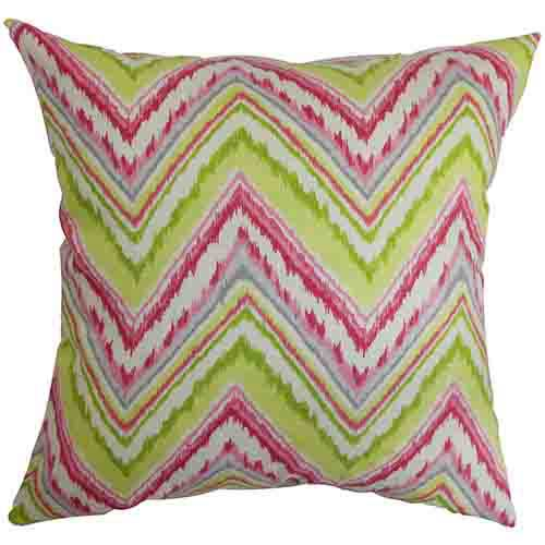 The Pillow Collection Dayana Pink and Green 18 x 18 Zigzag Throw Pillow