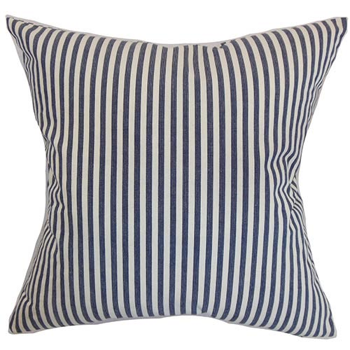 The Pillow Collection Neptune Blue 18 x 18 Stripes Throw Pillow
