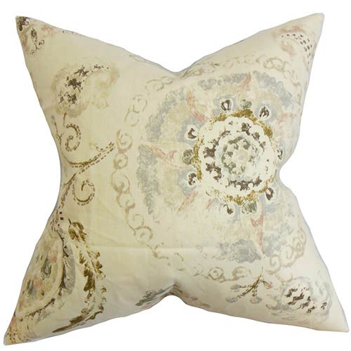 The Pillow Collection Riah Brown 18 x 18 Floral Throw Pillow