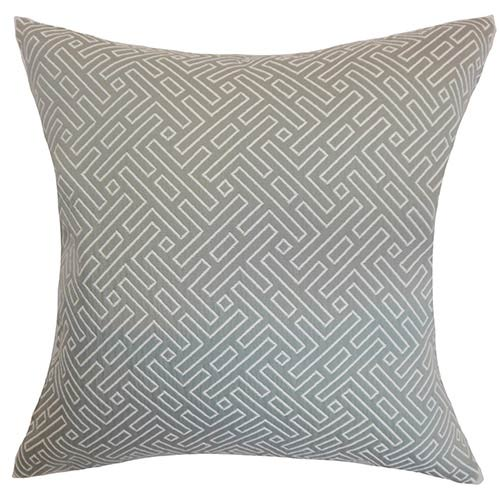 The Pillow Collection Qalanah Silver 18 x 18 Geometric Throw Pillow