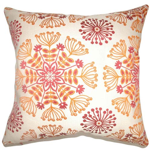 The Pillow Collection Jamesie Floral Pillow Flame