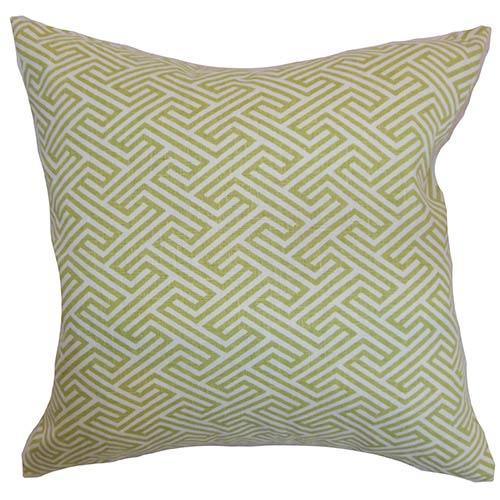 The Pillow Collection Qalanah Green 18 x 18 Geometric Throw Pillow