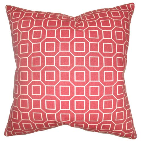 The Pillow Collection Zacheus Shapes Pillow Cranberry