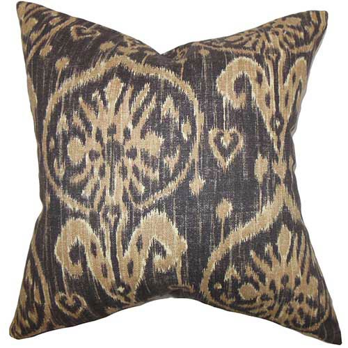 The Pillow Collection Yetta Brown 18 x 18 Patterned Throw Pillow