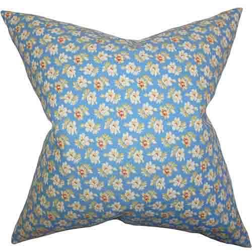 The Pillow Collection Parren Blue 18 x 18 Floral Throw Pillow
