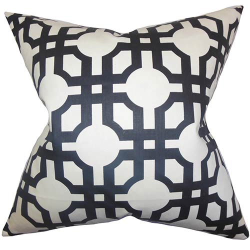 The Pillow Collection Aebba Black 18 x 18 Tile Throw Pillow