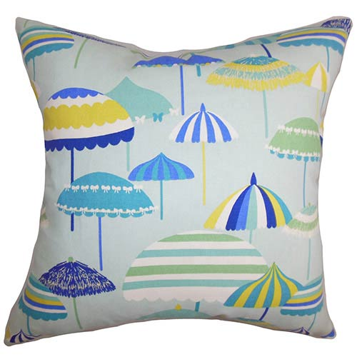 The Pillow Collection Yaffa Blue and Green 18 x 18 Geometric Throw Pillow
