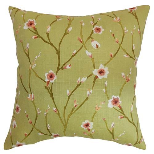 The Pillow Collection Varginha Green 18 x 18 Floral Throw Pillow