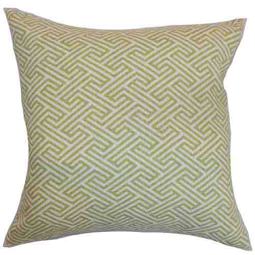 The Pillow Collection Graz Spring Green 18 x 18 Geometric Throw Pillow
