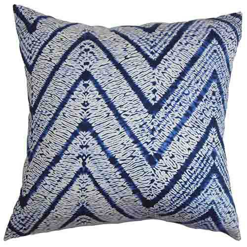 The Pillow Collection Destry Blue 18 x 18 Zigzag Throw Pillow