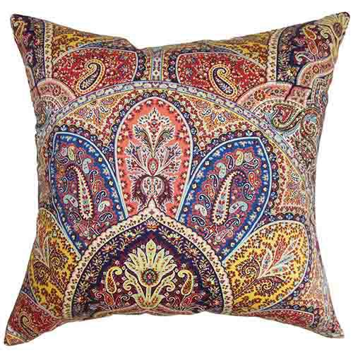 the pillow collection lehana blue 18 x 18 paisley throw pillow 2106p18d422ti_1 - The Pillow Collection