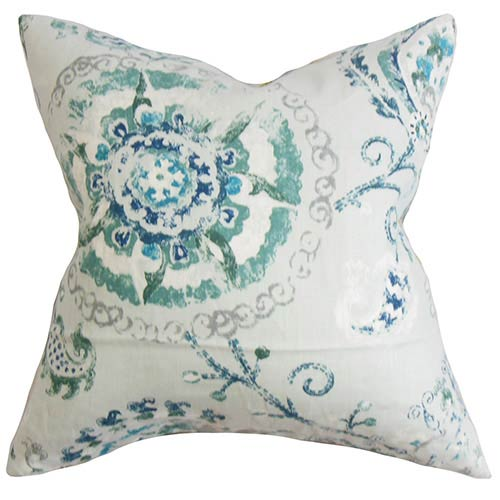 The Pillow Collection Riah Multicolor 18 x 18 Floral Throw Pillow