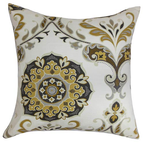 Orana Brown 18 x 18 Floral Throw Pillow