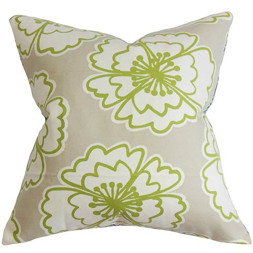 The Pillow Collection Winslet Gray 18 x 18 Floral Throw Pillow