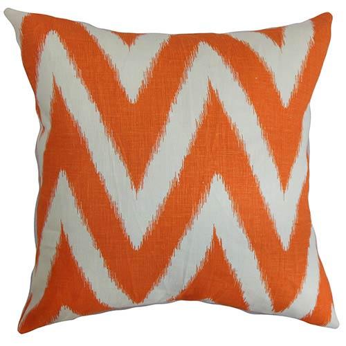 The Pillow Collection Bakana Orange 18 x 18 Zigzag Throw Pillow