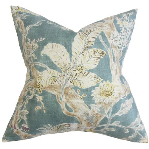 The Pillow Collection Satriya French Blue 18 x 18 Floral Throw Pillow