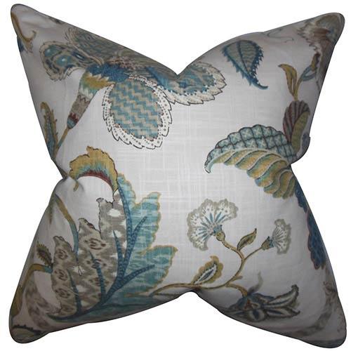 The Pillow Collection Gracen Blue 18 x 18 Floral Throw Pillow