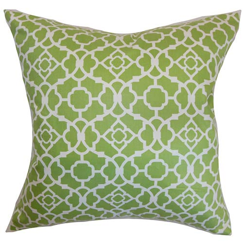 The Pillow Collection Kalmara Green 18 x 18 Geometric Throw Pillow