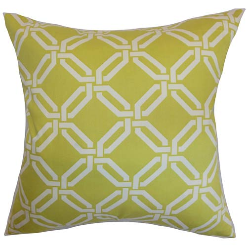 The Pillow Collection Ulei Green 18 x 18 Geometric Throw Pillow