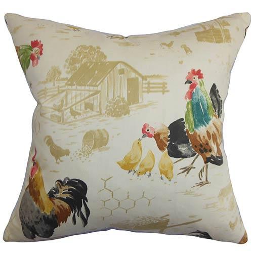The Pillow Collection Adara Neutral 18 x 18 Animal Throw Pillow