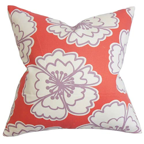 The Pillow Collection Winslet Red 18 x 18 Floral Throw Pillow