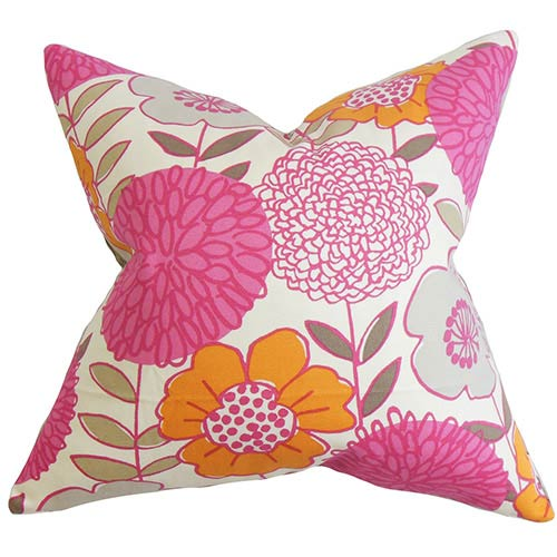 The Pillow Collection Veruca Pink 18 x 18 Floral Throw Pillow