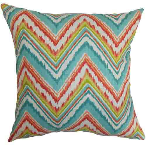 Dayana Teal Red 18 x 18 Zigzag Throw Pillow