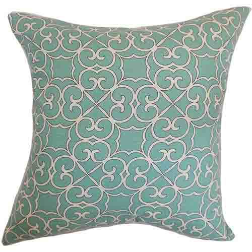 The Pillow Collection Ileouen Aqua 18 x 18 Geometric Throw Pillow