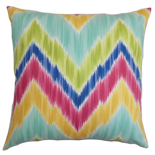The Pillow Collection Caltha Green 18 x 18 Zigzag Throw Pillow