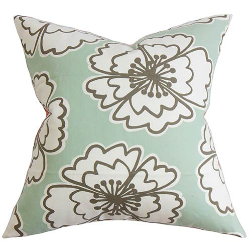 The Pillow Collection Winslet Blue 18 x 18 Floral Throw Pillow