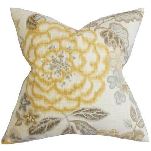 Unai Yellow 18 x 18 Floral Throw Pillow