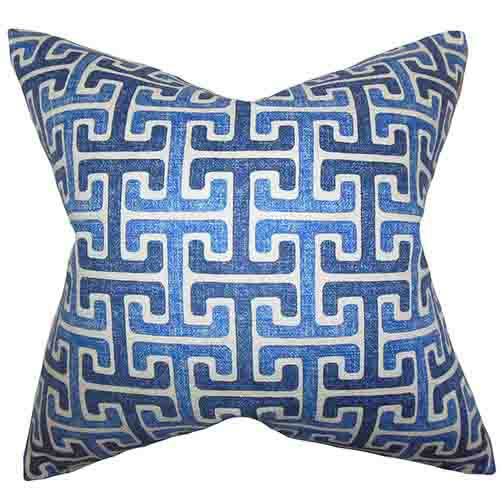 The Pillow Collection Unai Blue 18 x 18 Geometric Throw Pillow