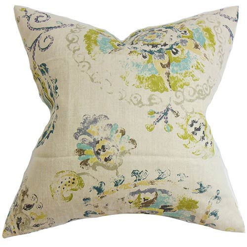 The Pillow Collection Riah Blue 18 x 18 Floral Throw Pillow