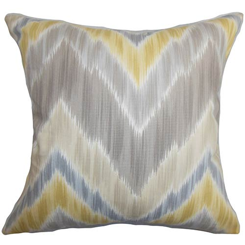 The Pillow Collection Caltha Gray 18 x 18 Zigzag Throw Pillow