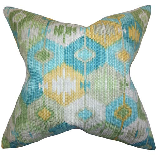 The Pillow Collection Sahil Blue 18 x 18 Geometric Throw Pillow